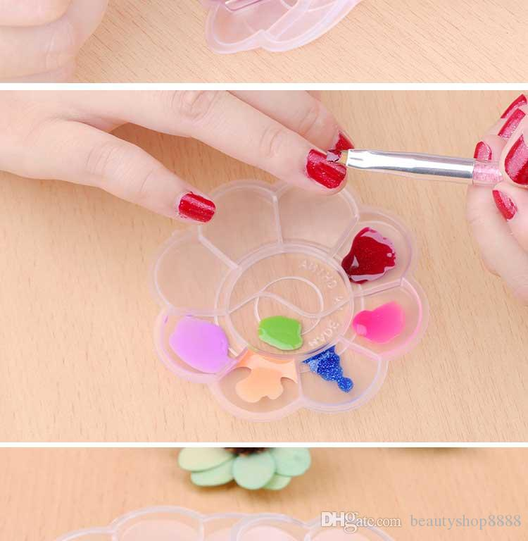 D189 Transparent 10 Grids Acrylic Liquid Color Mixing Painting Drawing Liner Nail Art Palette Gel Polish Design Manicure Nail Tool