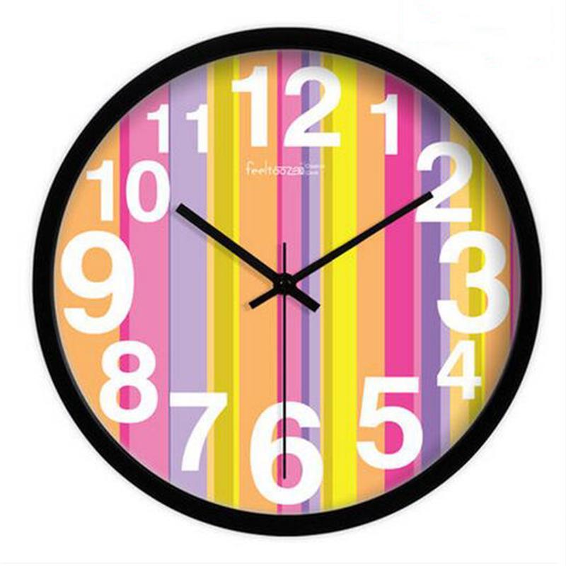 New Wall Hanging Clock Quartz Watch Round Silent Metal Art Home ...