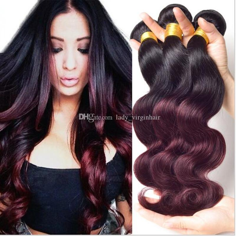 brazilian hair 3 bundles 1b burgundy ombre brazilian body wave hair weave bundles two tone wine. Black Bedroom Furniture Sets. Home Design Ideas