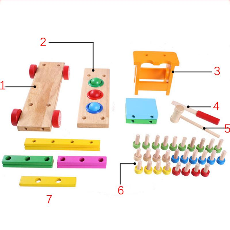 Wood Toys for Kids Baby Educational Wooden Toys Disassembly Screw Nut Vehicle Car Knock Ball Developmental Baby Toy