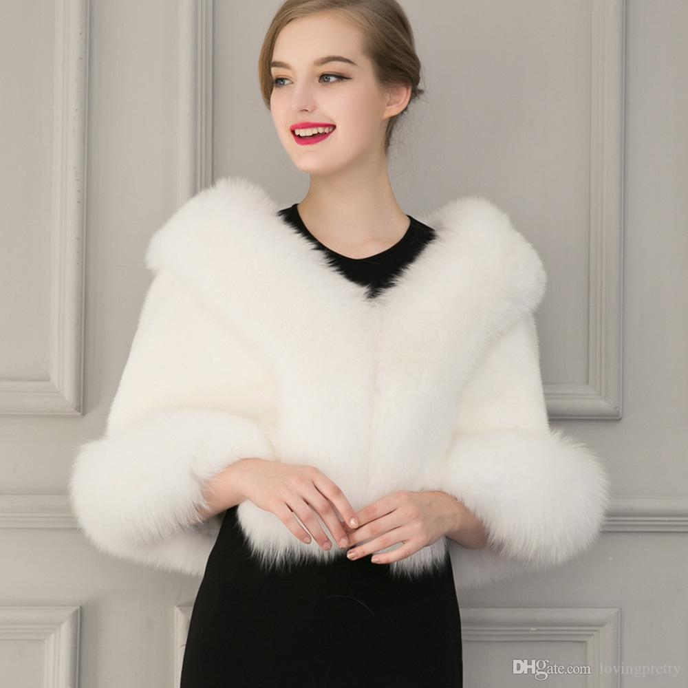 f79a5dd8d03 Black Fur Bolero Jacket Wedding Faux Fur Wrap Shawl Winter Coat Women Prom  Evening Shawls Cape Mariage Jacket Bridal Wraps And Boleros Bolero Faux Fur  Kant ...