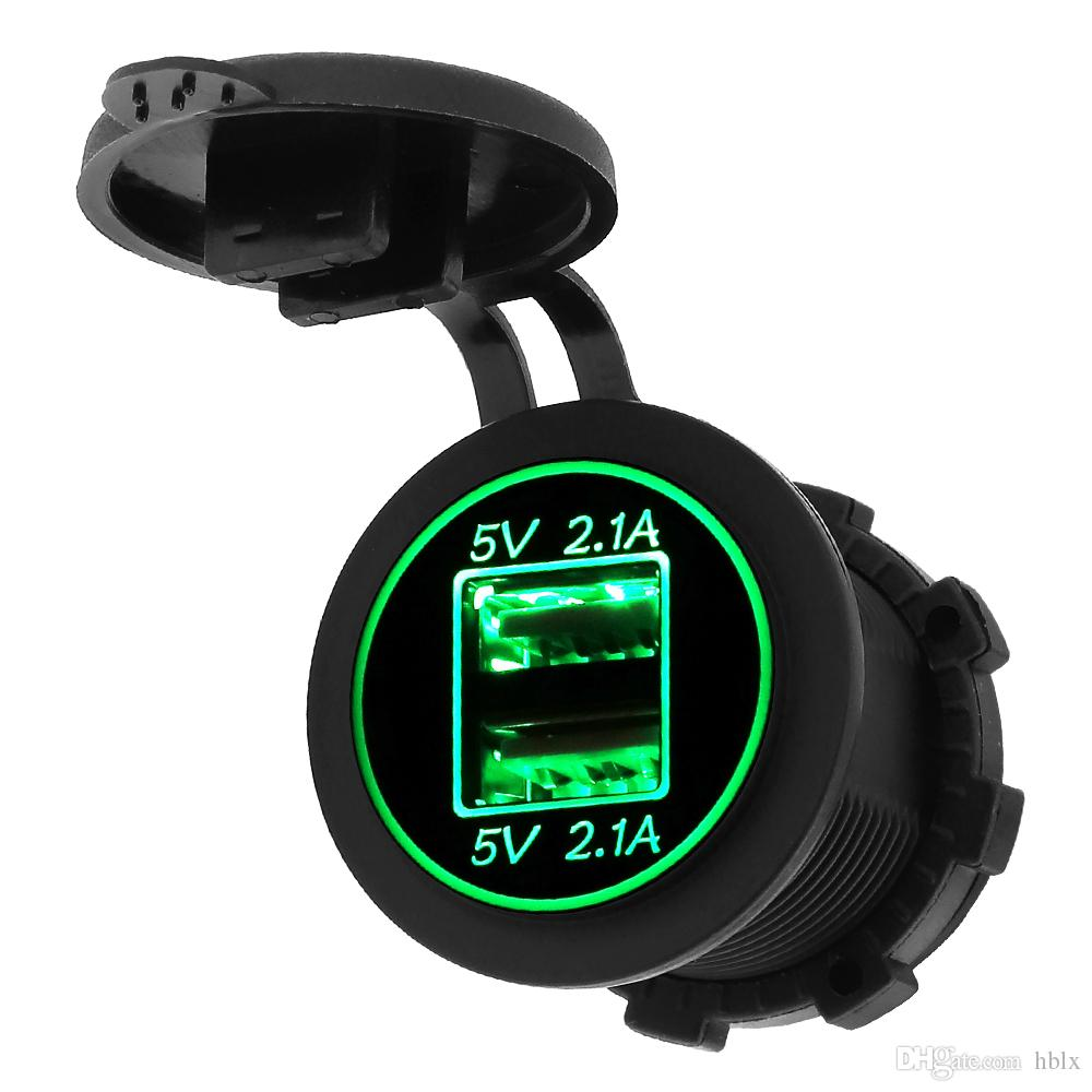 5V 4.2A Waterproof Double Aperture USB Vehicle Charger Adapter Applicable for Auto / Motorbike / Boat CEC_62P