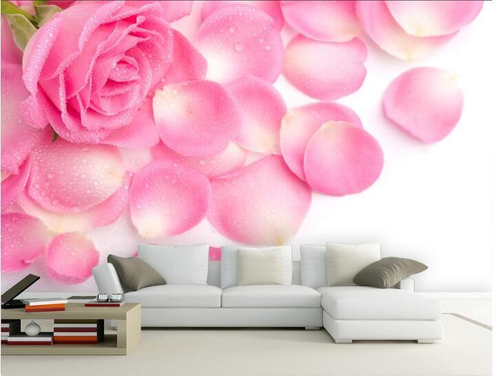 3d papier peint personnalisé photo non tissé mural moderne fleurs rose rose pétales décoration peinture photo 3d mur salle murales papier peint