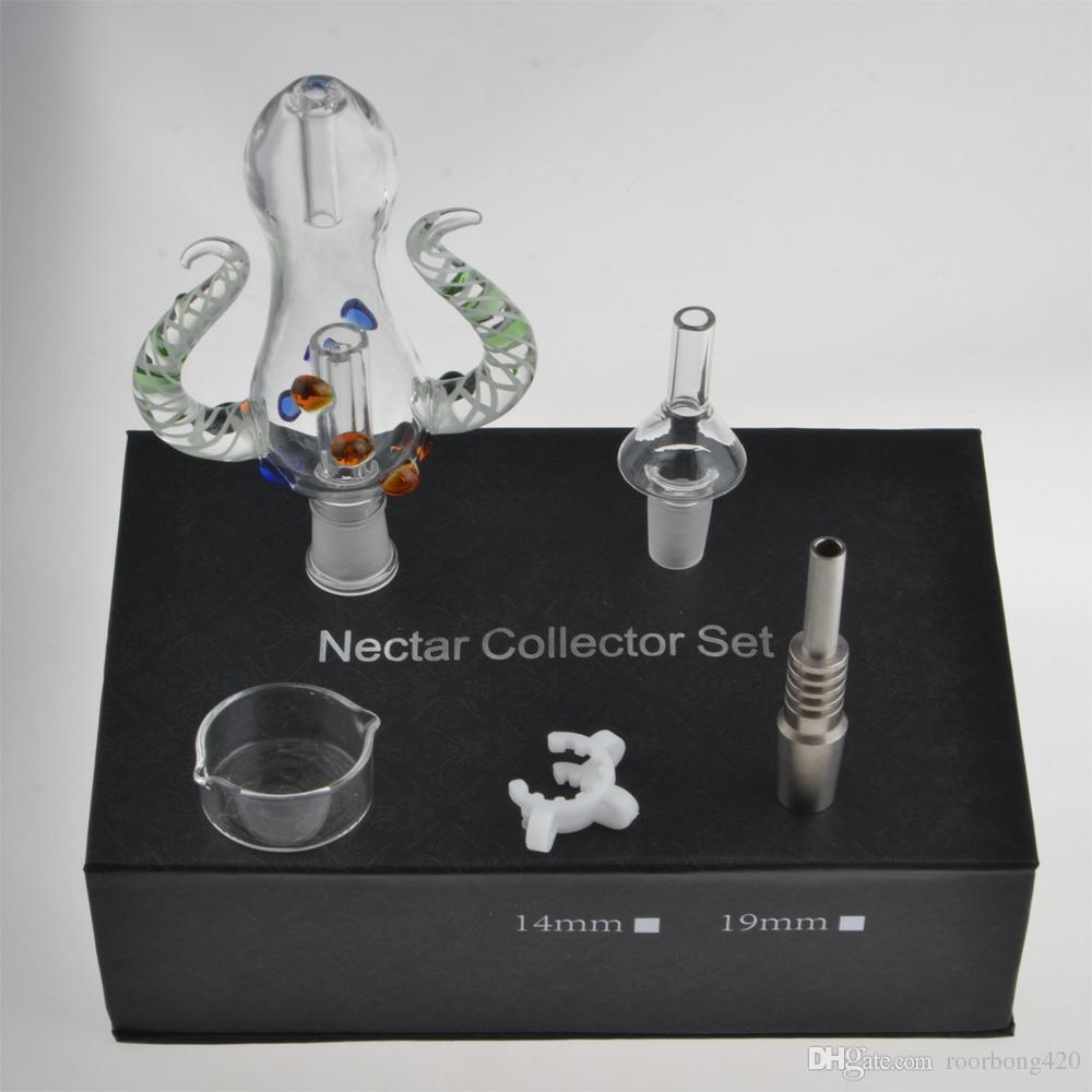 Nouvelle version 5.Octopus Design 14mm mini e Kit Nectar Recueilli W / Clou Titane Tuyaux En Verre 14mm Bong Navire Libre