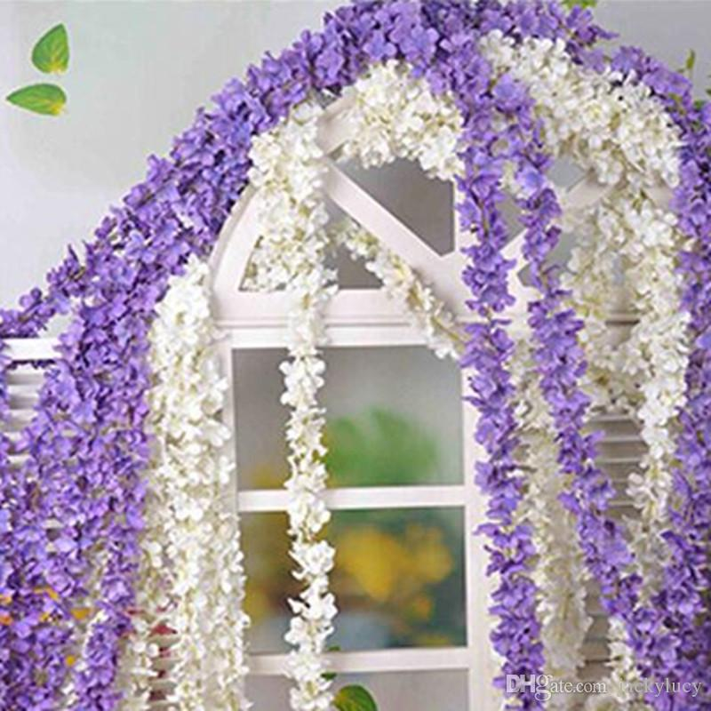 Shop Decorative Flowers U0026 Wreaths Online, 80200cm Super Long Artificial  Silk Flower Hydrangea Wisteria Garland For Garden Home Wedding Decoration  Supplies ...