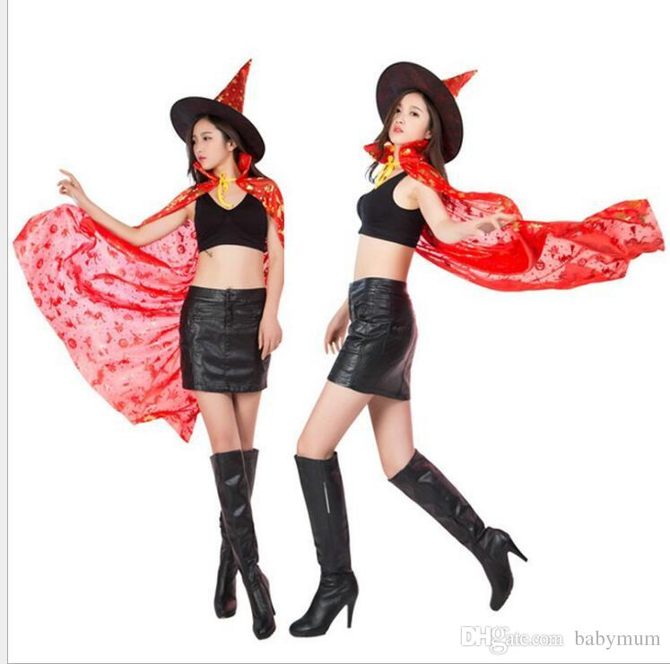 Halloween Cosplay Adult Capes women Vampire Cowl lady kids witch costume Festival Party girls cloak children vampires cape