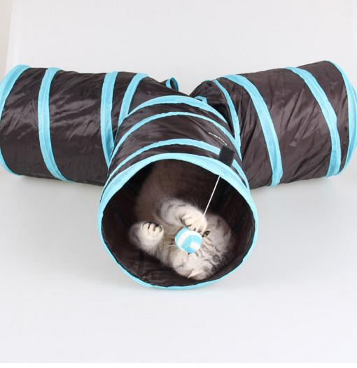 애완 동물 터널 고양이 터널 공 놀이 장난감 터널 3 구멍 foldable