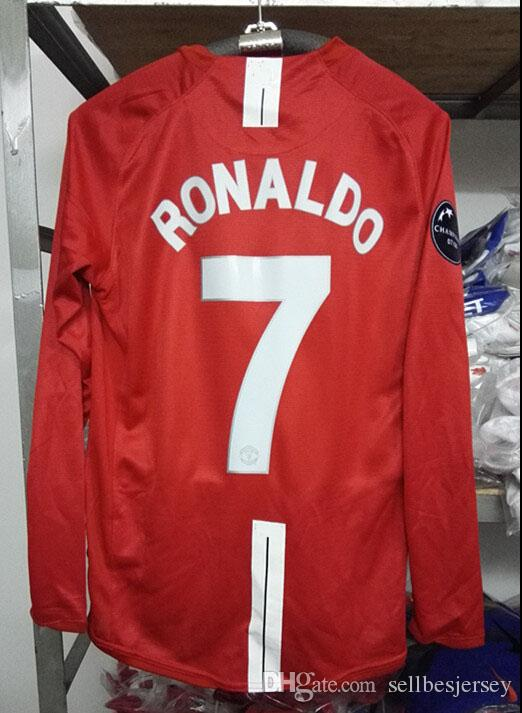 1a6388fd4a7 2019 Retro Jersey UCL 2008 09 Ronaldo Home Red Long Sleeved Shirt From  Sellbesjersey