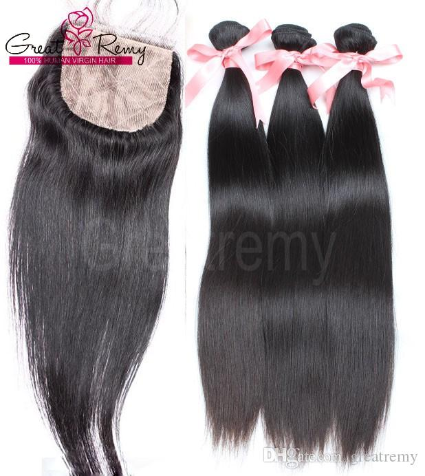 4pcs/lot Straight Brazilian Hair with Silk Base Top Closure Baby Hair Brazilian Virgin Bundles with Lace Closure Human Hair Greatremy