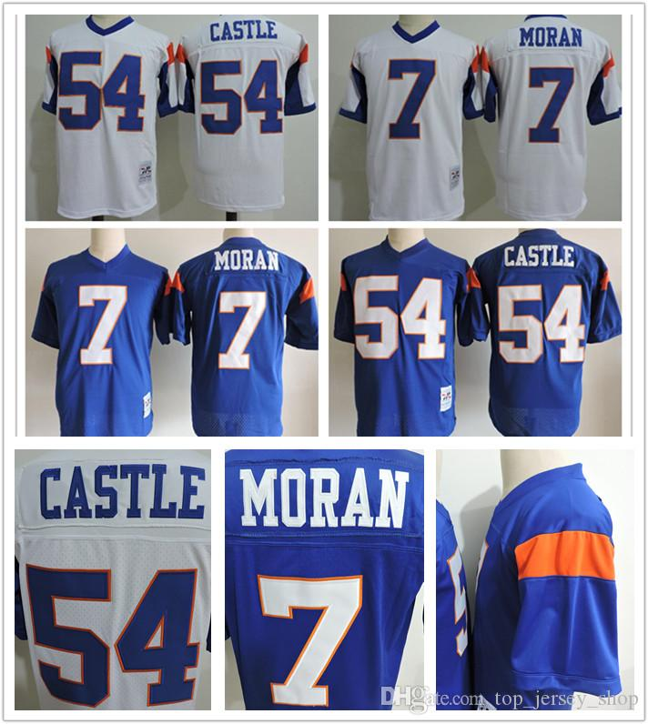 Men Blue Mountain State Movie Jersey 7 Alex Moran 54 Kevin Thad Castle Blue  White Stitched College Football Jerseys Cheap UK 2019 From Top jersey shop b3b1c56e7e08
