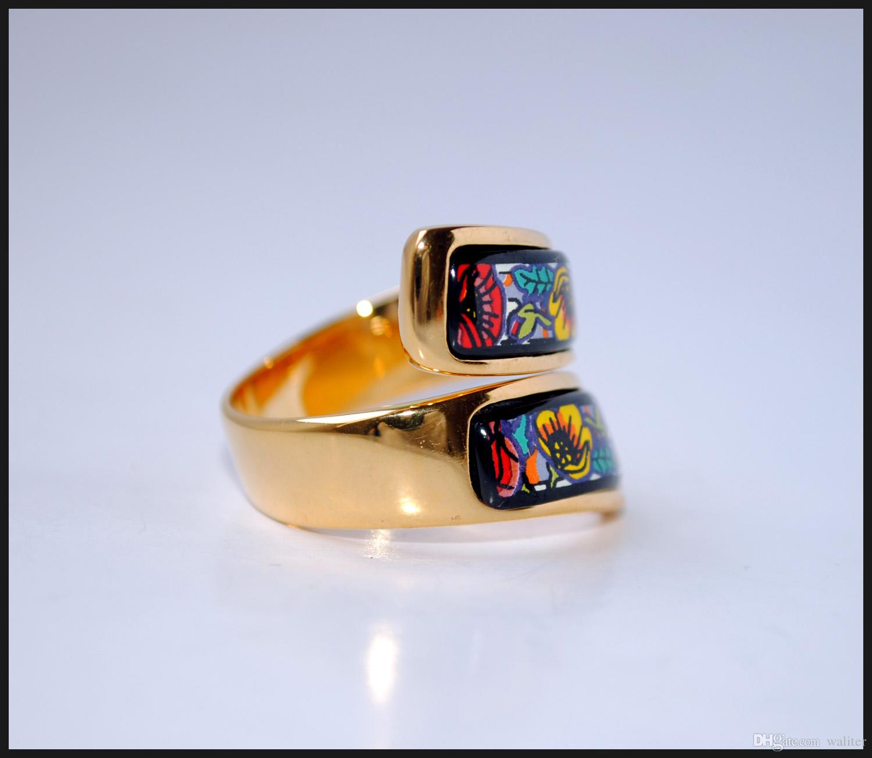 Monet Poppy Series rings 18K esmalte chapado en oro doble curva anillos Anillo de calidad superior para mujeres anillos de banda para regalo