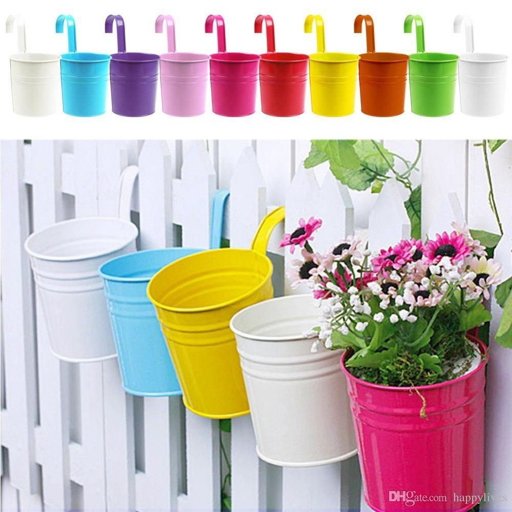 Gardening Pot Plant Colorful Metal Hanging Flower Pot Plant Planter