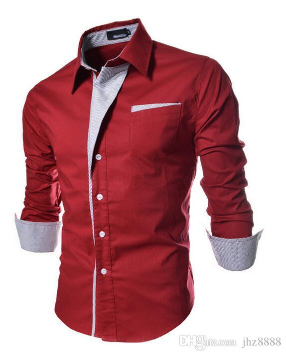 Brand New Man Shirts Long Sleeve Single-breasted Pocket Dress Shirts Men Clothing Patchwork Turn-down Autumn Plus Size M-3XL