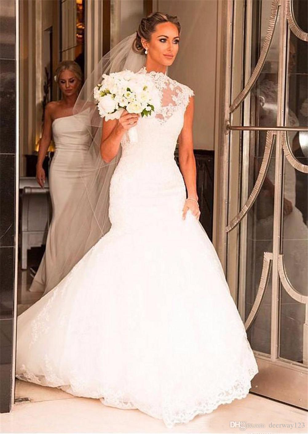 Robe de mariée en dentelle sirène col haut Vintage pure appliques Sexy chapelle train fermeture à glissière Retour robes de mariée