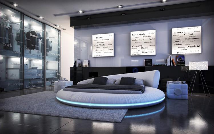 New Fashion Modern Leather Pu Led Light Round Bed Frame