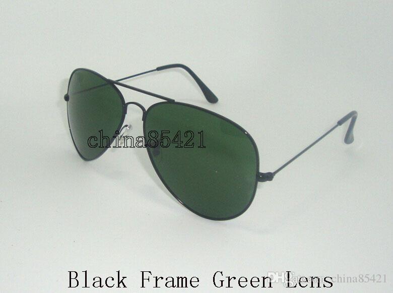 Designer Klassische Pilot Sonnenbrille Mens Womens Sonnenbrille Brillen Gold Rahmen Grün Glaslinse 58mm 62mm mit Box und Fall kommen