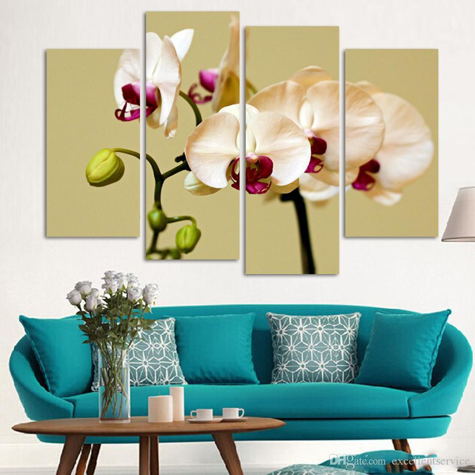 Best Wall Art No Framed Modern Abstract Hd Flower Orchid Picture ...