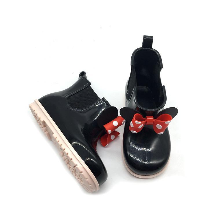 Bébé Filles Dots Arc Bottes De Pluie Rouge Et Noir Couleur Chaussures D'eau Antidérapantes Nouvelle Mode Enfants Vache Muscle Chaussures