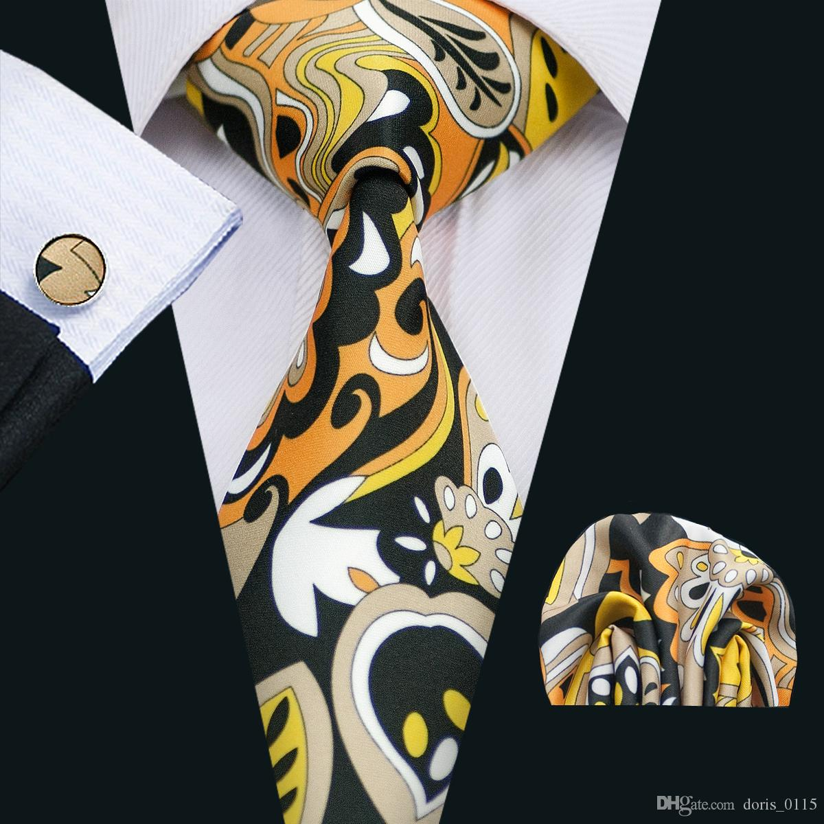 Men's Tie with Cufflinks Hanky New Arrival Yellow White Black Brown Mixed Color Silk Necktie Stylish Wide Classic Necktie N-1276