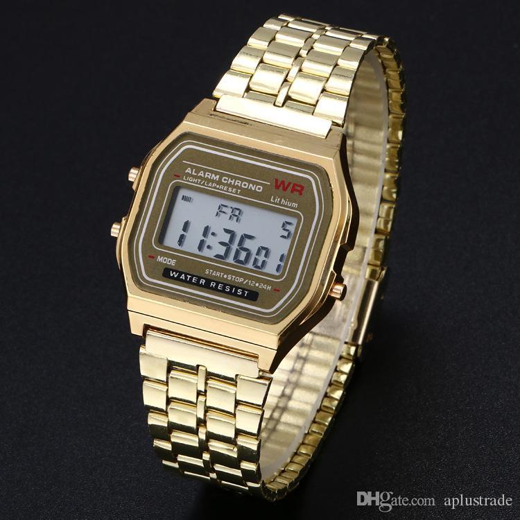 F91W atacado relógios Moda Ultra-fino LED Wrist Relógios F91W Gold Silver Homens Mulheres Esporte Relógios frete grátis