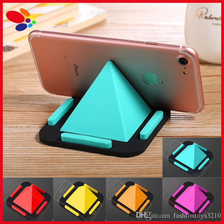 2018 2017 Newest Silicone Pyramid Phone Desk Holder Lazy Smartphone Table Stand For Iphone 7 6 Samsung Tablet Promotional Gifts From Fashiontoys3210