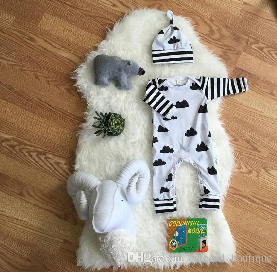 Baby Rompers Suit Summer Infant Romper Onesies 100% cotton Long sleeved babies clothes boy girl full cloud print full sizes in stock