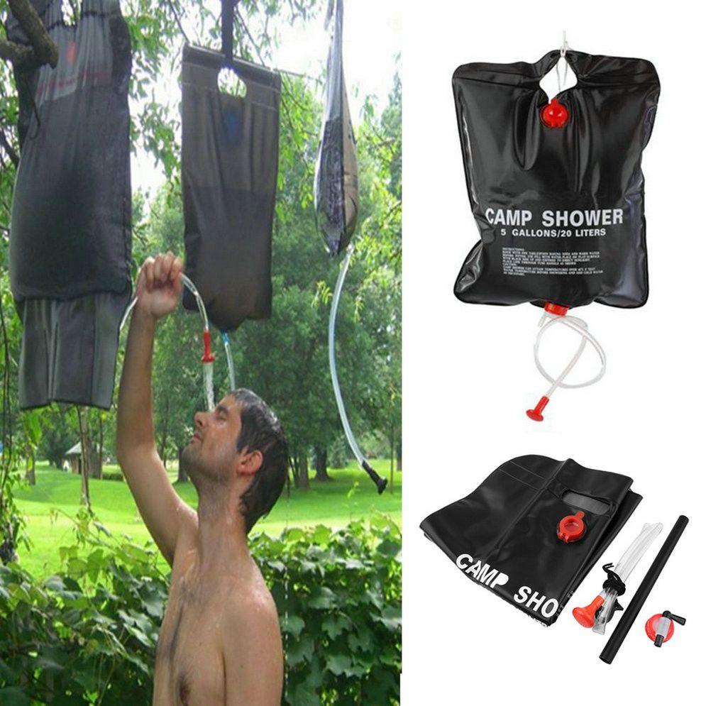 20L 5 GallonS Camping Hiking Solar Heated Camp Shower Bag Shower Water Bag Fishing Camping Picnic BBQ Hiking Water Storage 6P PVC