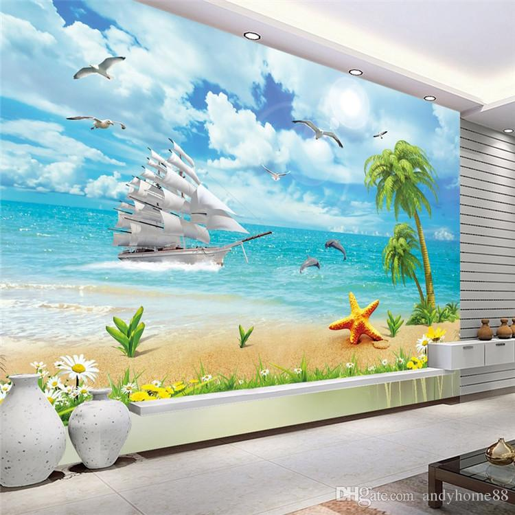 Silk Wallpaper Non Woven Waterproof Sea View Wallpaper TV Background Wall  Living Room Bedroom Sofa Wallpaper 3D Stereo Beach Sea View Murals Wall Part 85