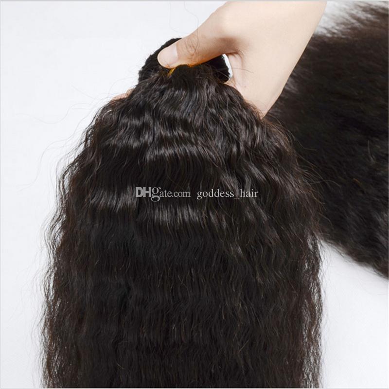 Paquetes peruanos del pelo recto perverso 9A con el cierre / Pieza libre italiano Yaki grueso del encierro del cordón con el pelo humano