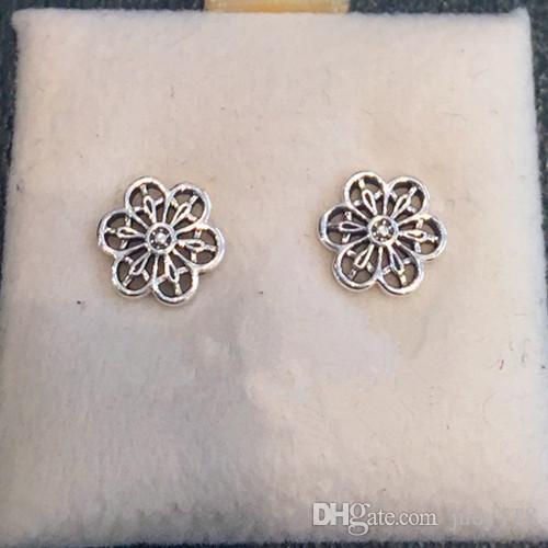 2016 Nueva Colección de Primavera Floral Daisy Lace Stud Pendiente 925 pendientes de plata para las mujeres brincos Memnon Joyería al por mayor ER044
