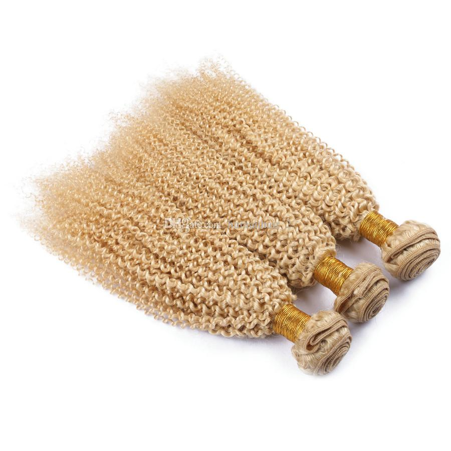 3 paquetes de extensiones de cabello rubio rizado brasileño rizado brasileña trama de pelo brasileño 3 Boundles rubio rizado rizado rizado pelo