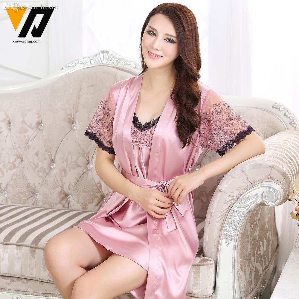 2019 Wholesale Women Pyjamas Lace Silk Nightgowns Lounge Ladies Nightdress  Bath Robe Sets Two Piece Short Sleeves Sleepwear Set M XXL From Buxue 408d3fd78