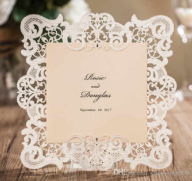 free personalized customized printing white laser cut wedding invitations cards rsvp included cw6079 wedding invitations cork wedding invitations paper - Wedding Invitations With Rsvp Included