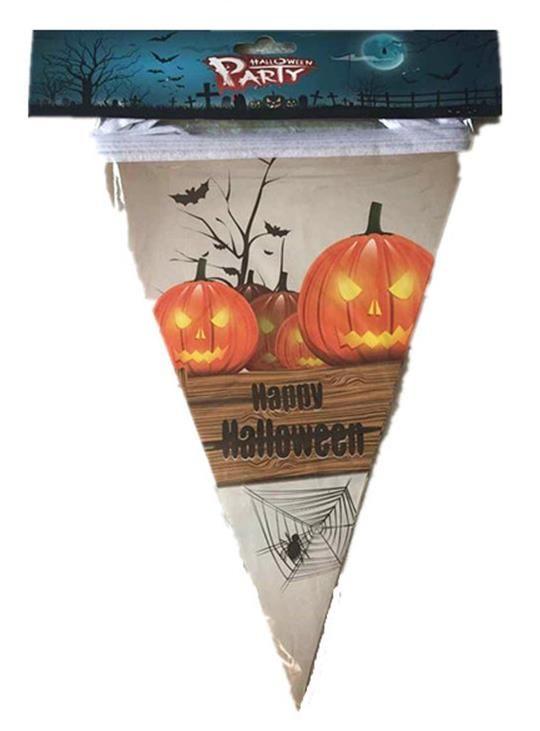 Halloween décoration papier triangle drapeau fanion bannière carnaval guirlande crâne chauve-souris fantôme araignée effrayant clubing bar boutique décorations de fête fournitures