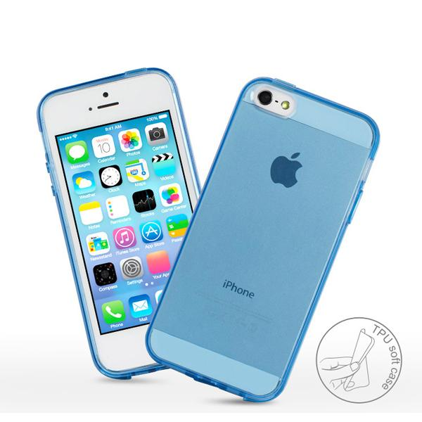 buy online dc636 82073 glossy Crystal Blue Clear Transparent Tpu Rubber Case Blue Transparent Tpu  Case With Dust Plug For iPhone 5 5s 5G 100Pcs/lot thick case