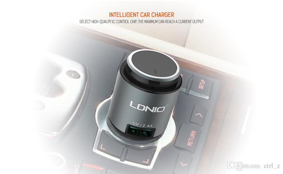 Original Ldnio CM20 Intelligent Vehicle 2 in 1 bluetooth Car charger kits Input 12V 24V output 5V 2.4A