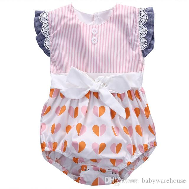 da995b01bb 2019 Baby Clothes Cotton Bow Cute Pink Rompers Infant Baby Girl Clothes  Lace Flower Ruffles Baby Girl Romper Jumpsuit Sunsuit One Piece Outfits  From ...