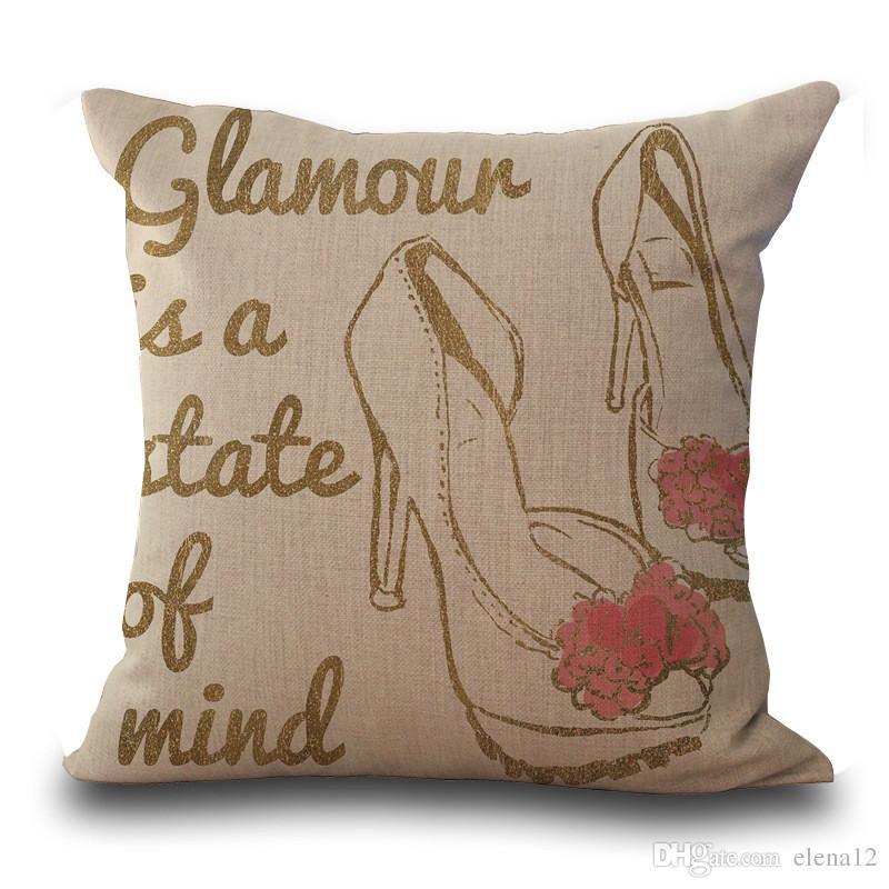 Rossetto borse tacchi moda occhiali da sole bikini stampato copertura del cuscino in cotone set di biancheria da letto federa nuovo regalo bambini cuscino copertura 240541