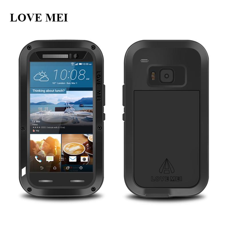 promo code 94d34 82ec7 LOVE MEI Waterproof Metal Case For HTC One M9 Powerful Shockproof  Anti-knock Aluminum Case Cove For HTC M9 Gorilla Glass Free Shippong