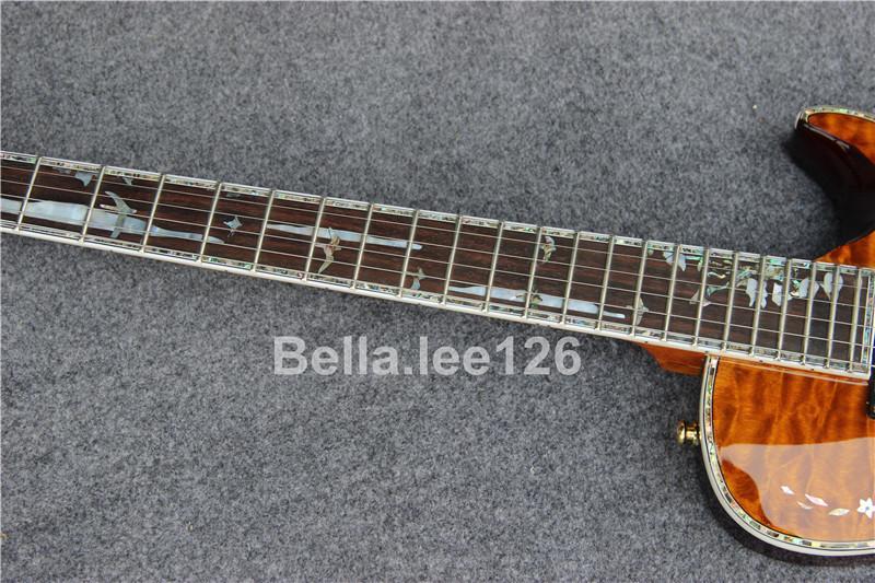 Toptan OEM özel 22 fret gitar, abalone inaly ile gül ağacı klavye, maun gövde ve boyun kahverengi kapitone fisnish elektro gitar