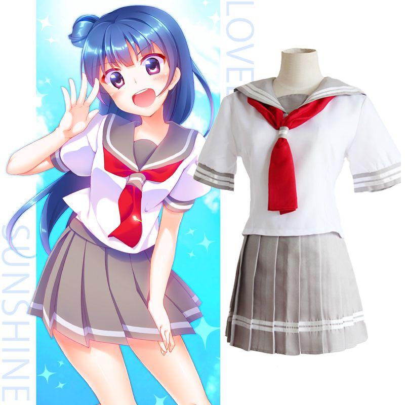 32a1667a6ecbb Sunshine Aqours Takami Chika Sailor Suit Love Live School Uniform Dress  Anime Cosplay Costume Cosplay Uniforms Cool Cosplay Costumes From  Yyangyang, ...