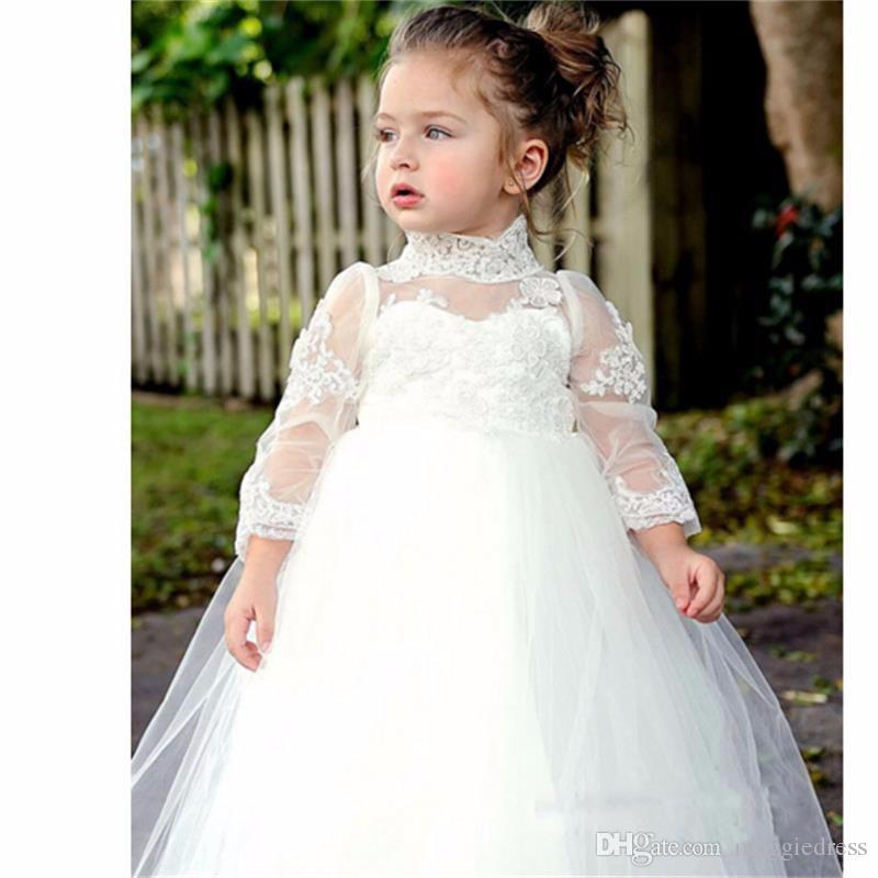 2016 Principessa Vestito da ragazze di fiori Manica lunga Appliques bianche Abito da ballo Ragazze carine Prima comunione Abito da sposa bambini flowergirl