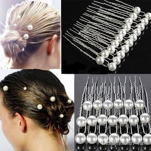 8mm Faux Wedding Bridal Bride Prom Synthetic White Pearl Hair Bobby Silver Pin Women gift high quality