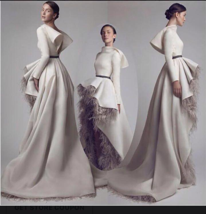 adbefa2e6d Ashi Studio 2017 Charming High Front Low Back Long Sleeve Prom Dresses 2016  High Neck Feather Satin A Line Custom Made Formal Evening Dress Womens Gowns  ...
