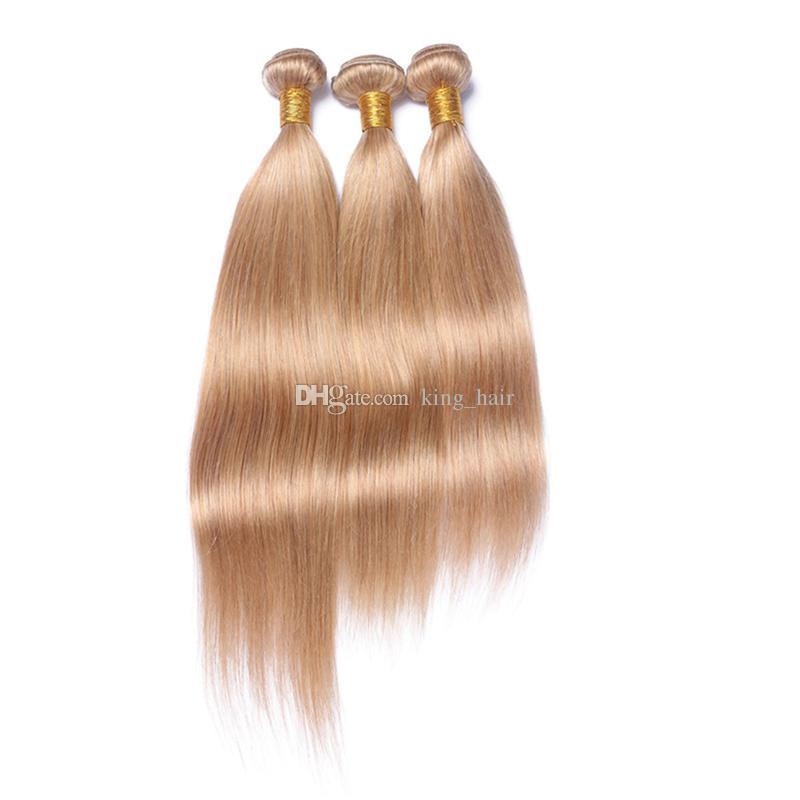 Silky Droite Trame De Cheveux Avec Pré Plumée 360 Frontal / De Miel Blonde 27 Cheveux 3 Bundles Avec 360 Frontal 22.5x4x2r