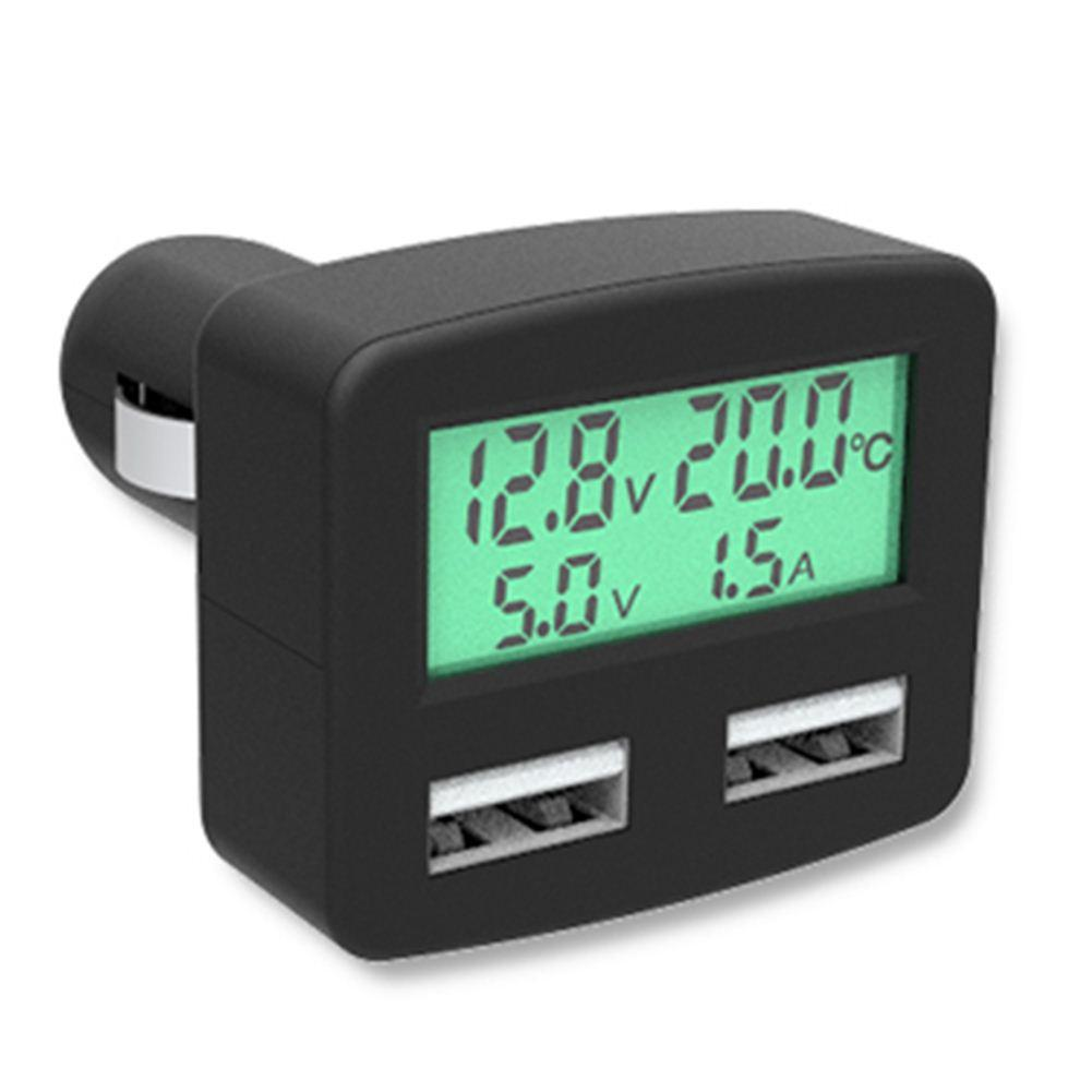 Universal 5 in 1 3A Dual USB Car Phone Charger, DC 5V Car Phone USB Charger with LCD Display Temperature voltage current Meter