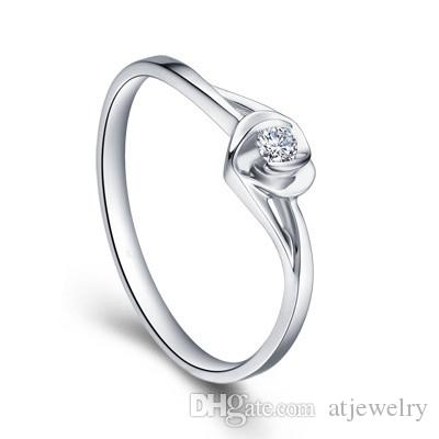 Zertifiziertes Massivgold Natur Diamant-Verlobungsringe für Frauen 0.10ct Rundschnitt SI G-H GOOD 14K Weißgold Herzform Großhandel XTR1022