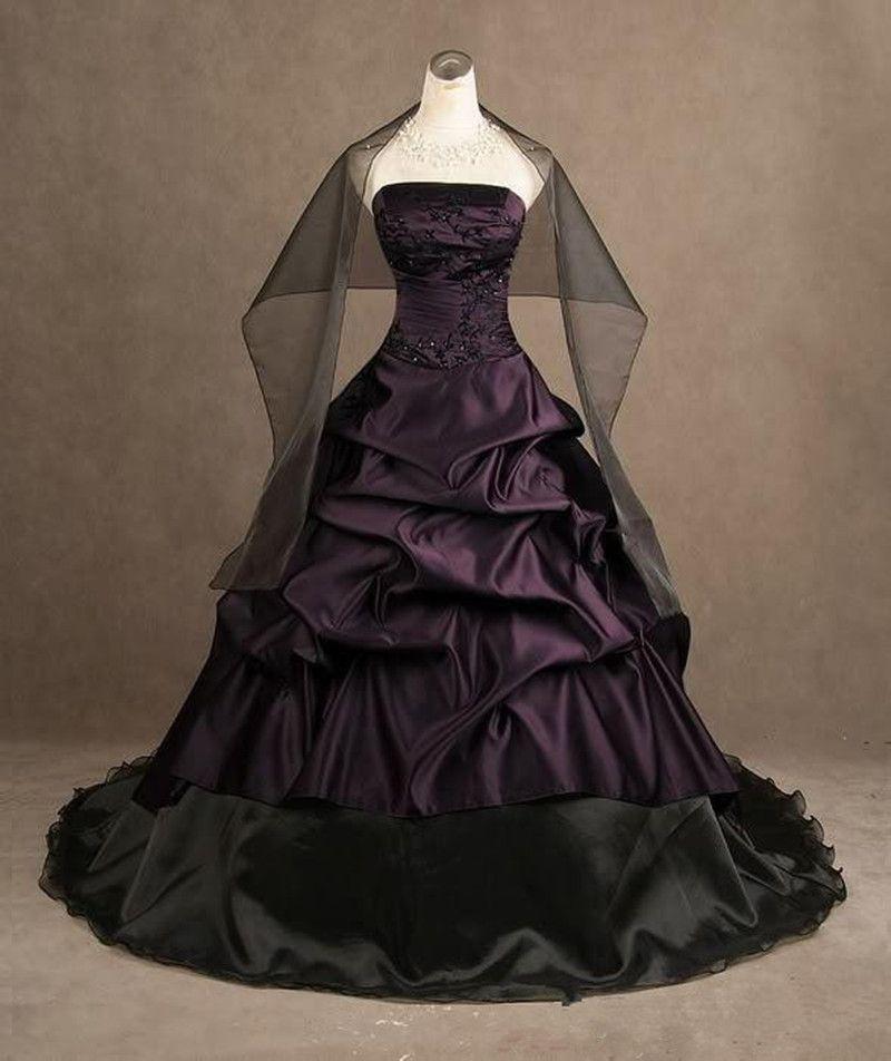 Gothic Style Purple And Black Wedding Dresses Strapless Satin Ball