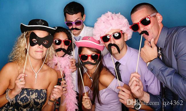 2017 New Funny Photo booth props with lips moustaches glasses and sticks party wedding Decorations Prop