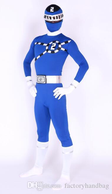 2016 new design blue super hero tg no2 logo lycra body suit fancy